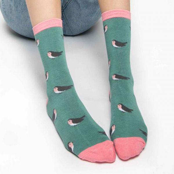 Miss Sparrow Socken Rotkehlchen grün
