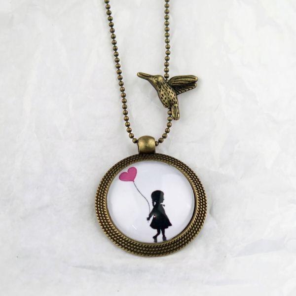 Medaillon-Halskette Mädchen / Herzballon