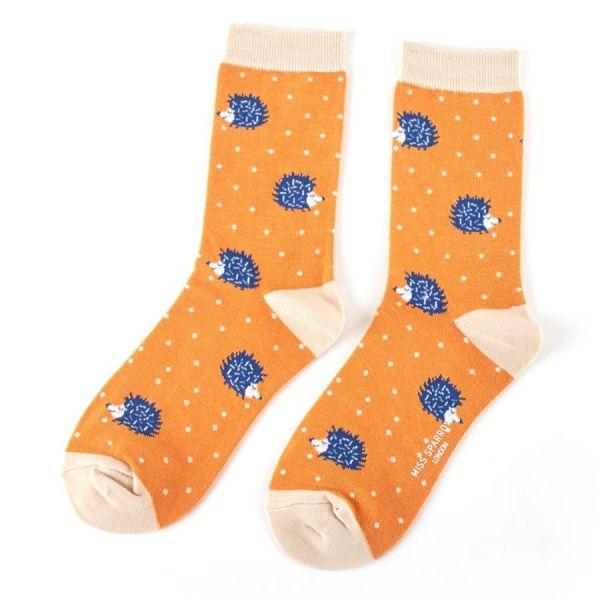 Miss Sparrow Socken Igel gelb