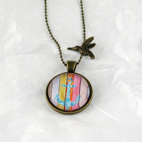 Medaillon-Halskette blauer Anker / multicolor