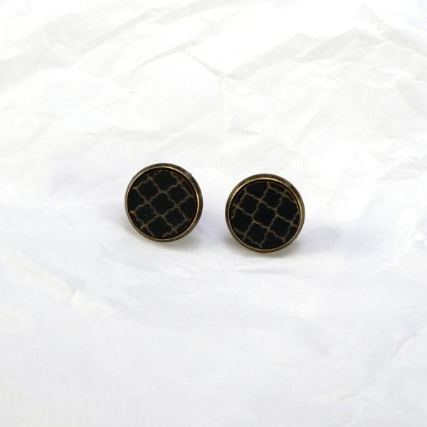 Ohrstecker Holz Muster schwarz