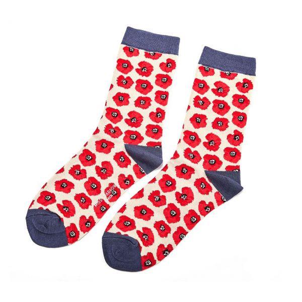 Miss Sparrow Socken Mohnblüten