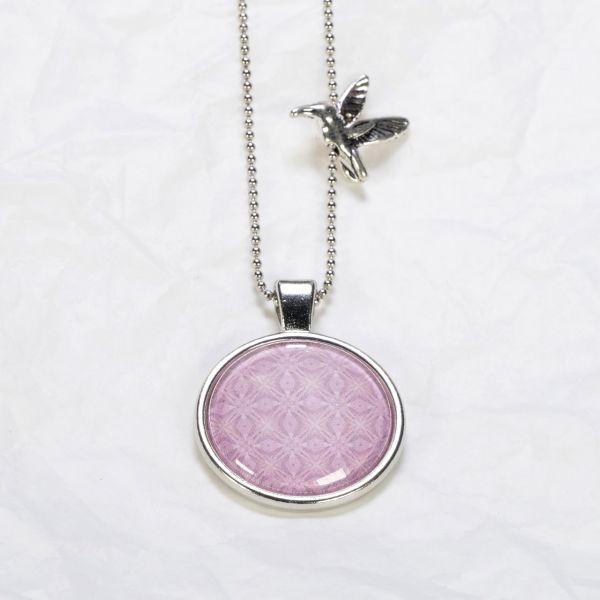 Medaillon-Halskette Muster hellviolett