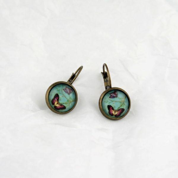 Ohrring grün/Schmetterling