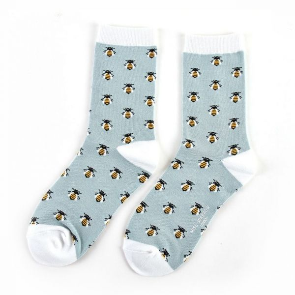 Miss Sparrow Socken Bienen blau