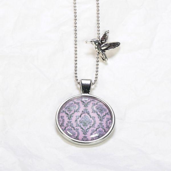 Medaillon-Halskette Blumenmuster Rosa