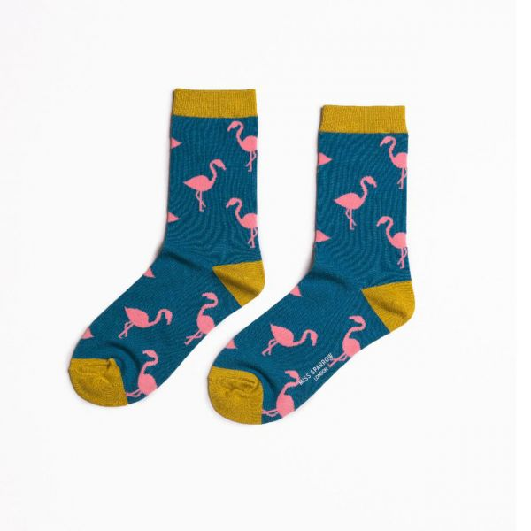 Miss Sparrow Socken Flamingos blau front