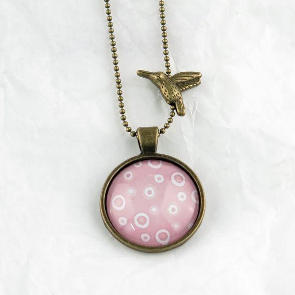 Medaillon-Halskette rosa/weisse Kreise