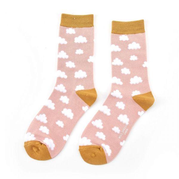 Miss Sparrow Socken Wolken rosa