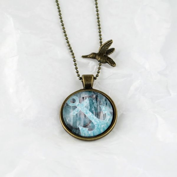 Medaillon-Halskette türkis schräger Anker