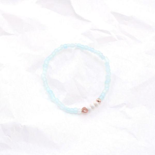 Armkette Glasperlen rund hellblau