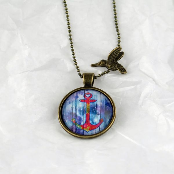 Medaillon-Halskette Anker multicolor gebleicht