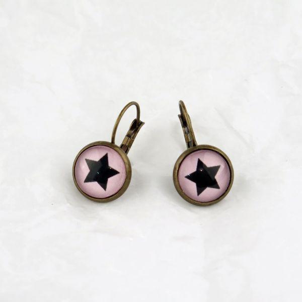 Ohrring rosa/schwarzer Stern