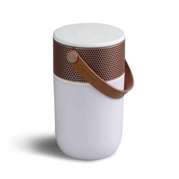 Kreafunk Bluetooth-Speaker aGlow 2 weiss-rosé gold Seite oben