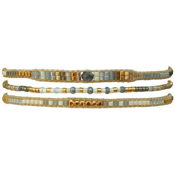 LeJu Armband BP1L04 3er Set beige / grau