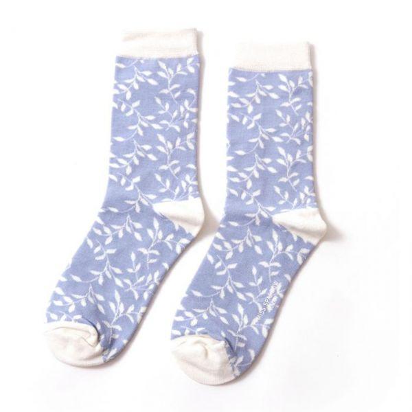 Miss Sparrow Socken Blätter blau