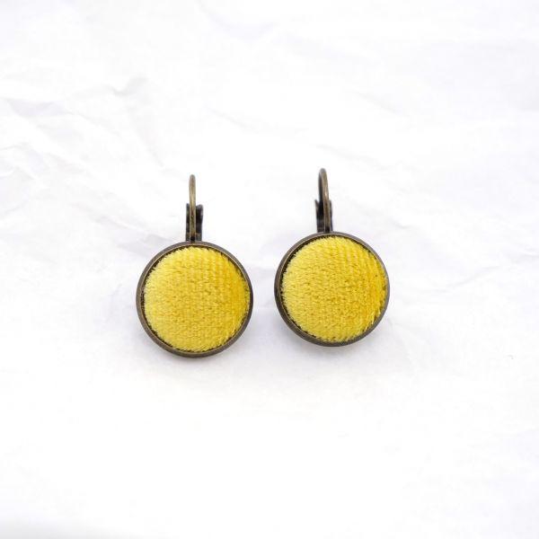 Ohrring Samt gelb front