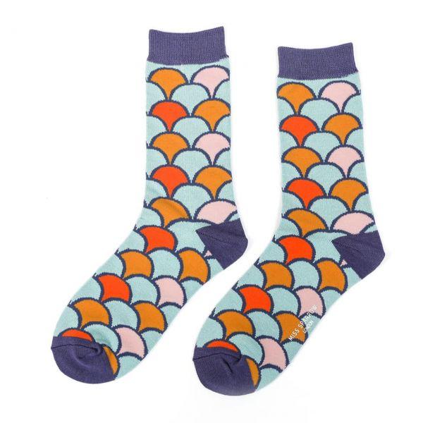 Miss Sparrow Socken Muschelmuster blau