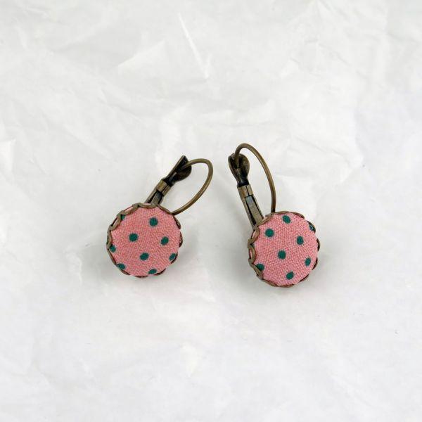 Ohrring Stoff rosa/grüne Punkte
