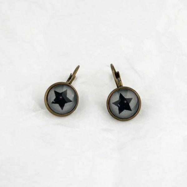 Ohrring grau/schwarzer Stern
