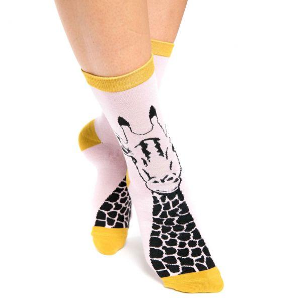 Miss Sparrow Socken Giraffe rosa
