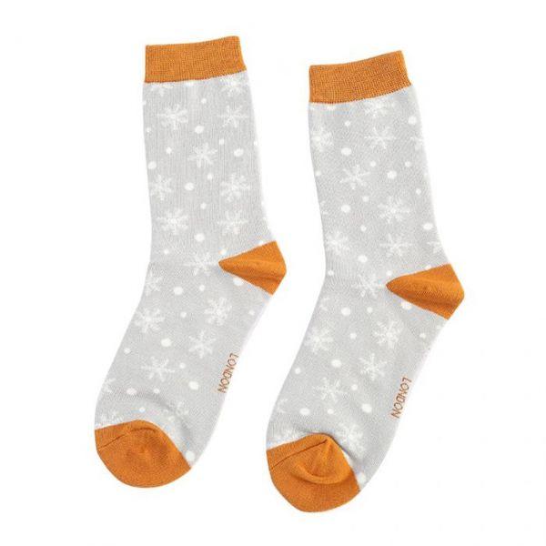 Miss Sparrow Socken Schneeflocken grau