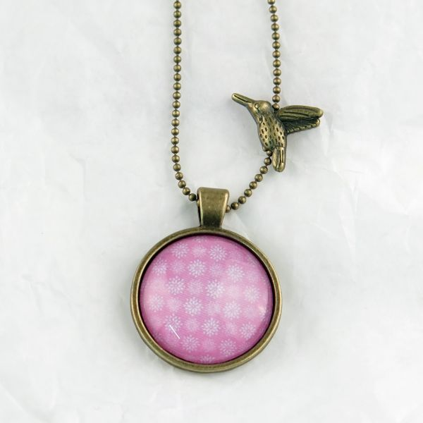 Medaillon-Halskette Sterne pink-weiss
