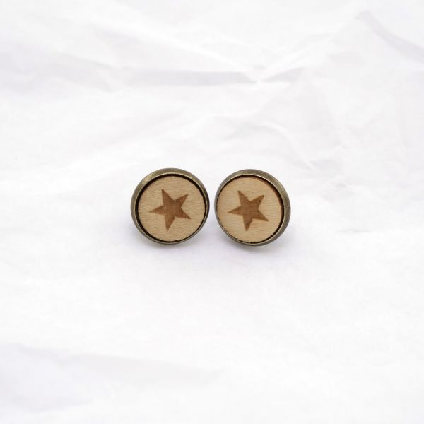 Ohrstecker Holz Stern natur front