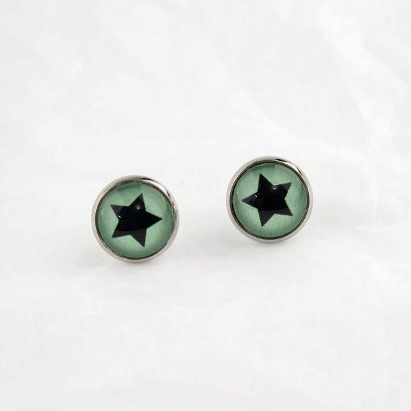 Ohrstecker Cabochon schwarzer Stern grün