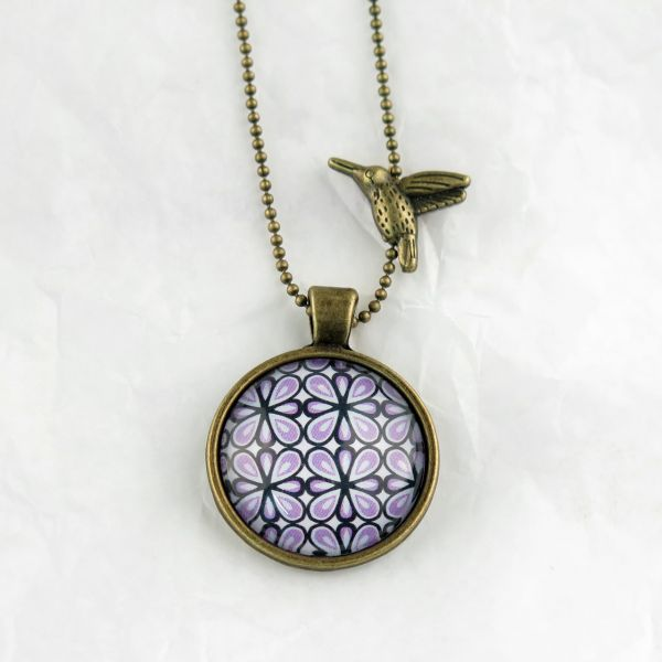 Medaillon-Halskette Muster lila/schwarz