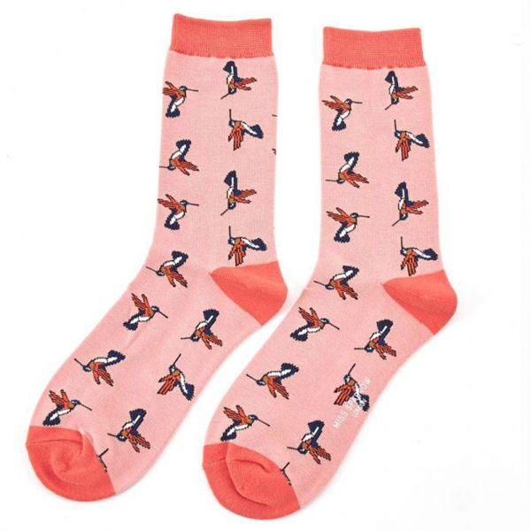 Miss Sparrow Socken Kolibris rosa
