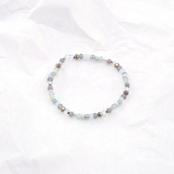 Armkette Glasperlen rund grau-gruen