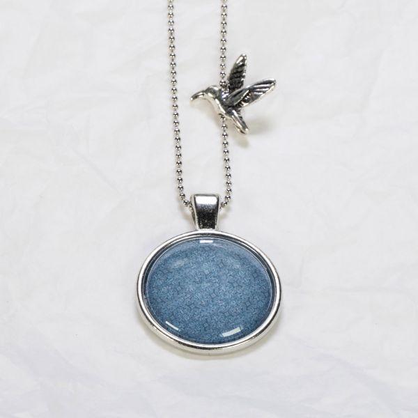 Medaillon-Halskette Retromuster blau