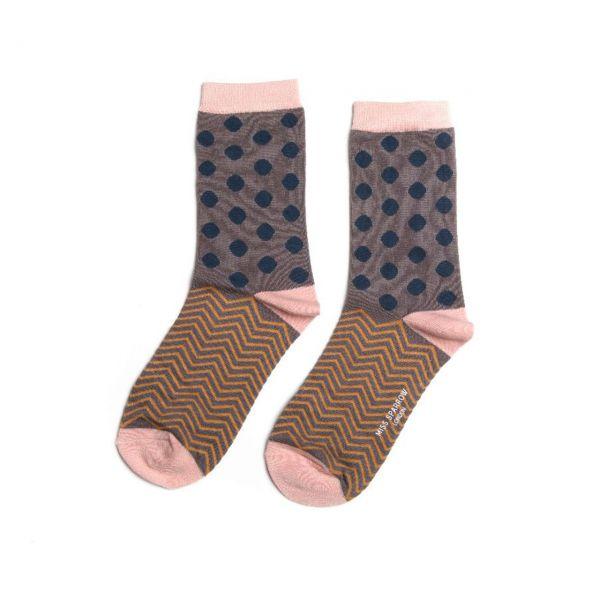 Miss Sparrow Socken Punkte dunkelblau