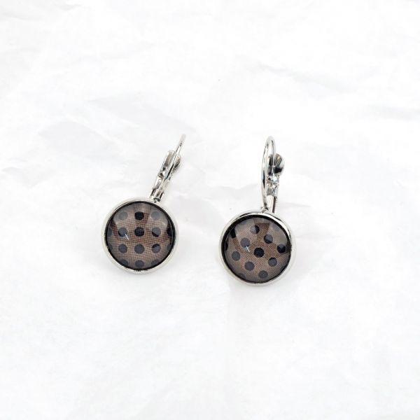 Ohrring braun/schwarze Punkte