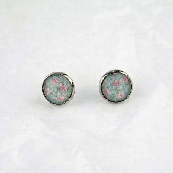 Ohrstecker Cabochon Rosen grün-rosa