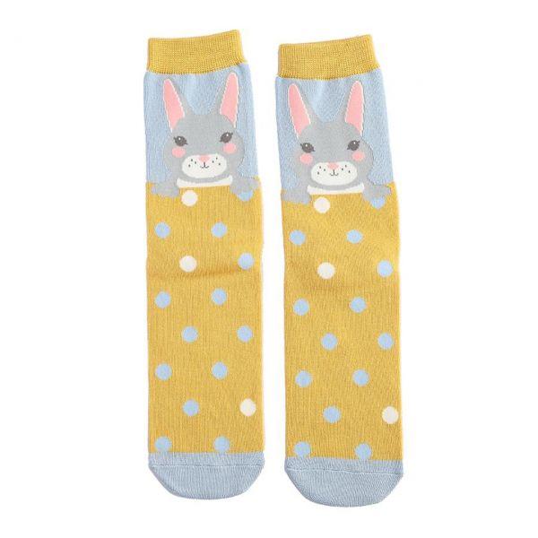 Miss Sparrow Socken Häschen gelb