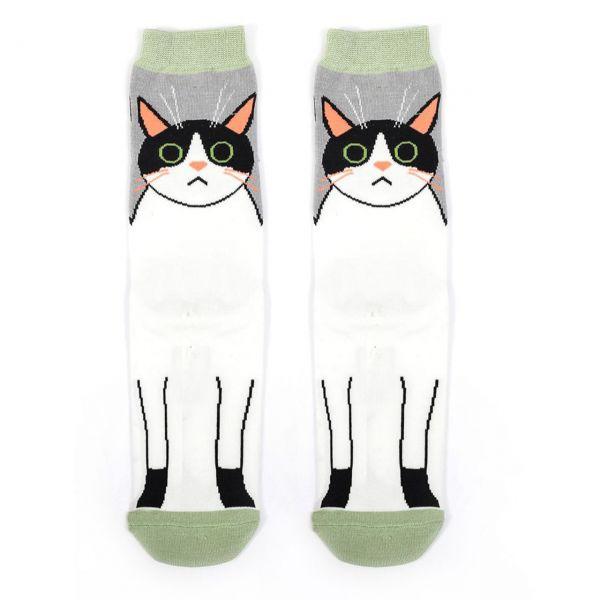 Miss Sparrow Socken Katze weiss front