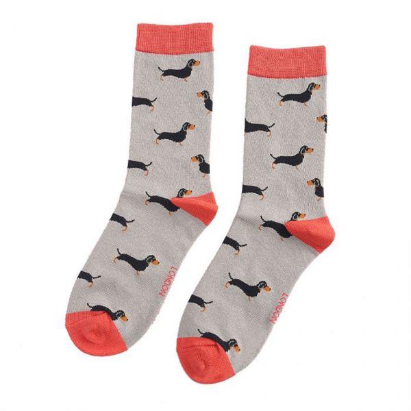 Miss Sparrow Socken Dackel grau
