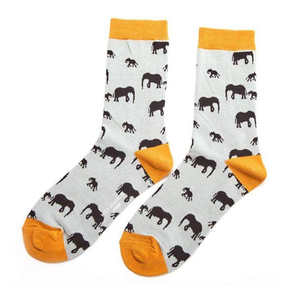 Miss Sparrow Socken Elefanten hellblau
