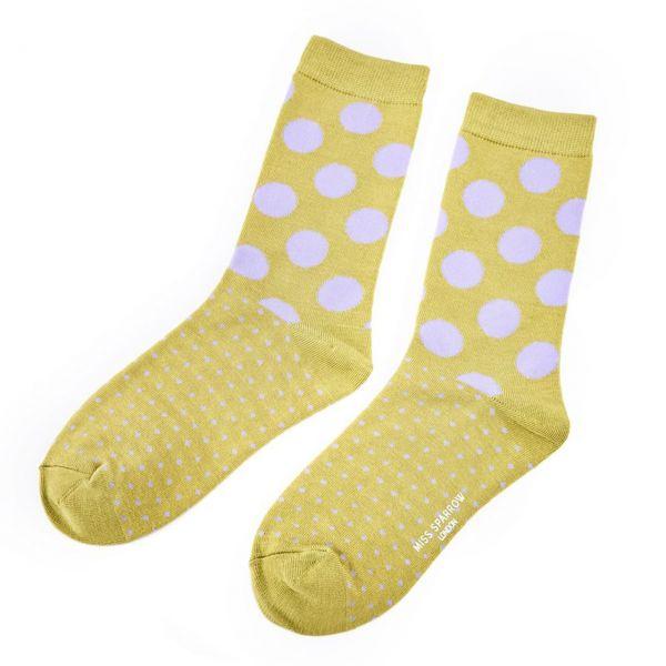Miss Sparrow Socken lila Punkte