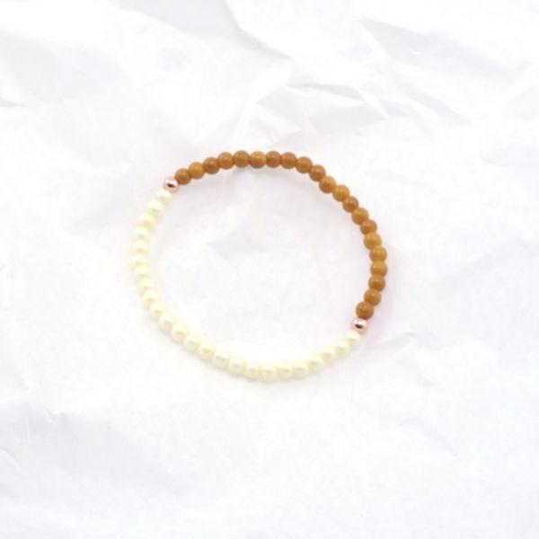 Armkette Glasperlen rund ocker-pearl