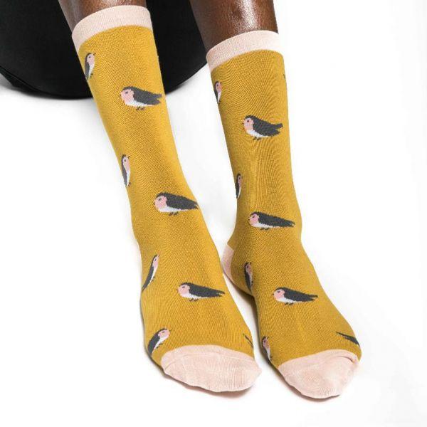 Miss Sparrow Socken Rotkehlchen gelb