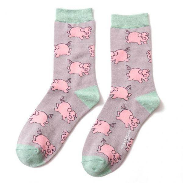 Miss Sparrow Socken Schweinchen grau