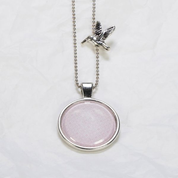 Medaillon-Halskette Muster zartrosa
