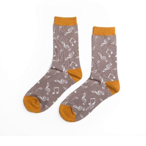 Miss Sparrow Socken Musiknoten grau