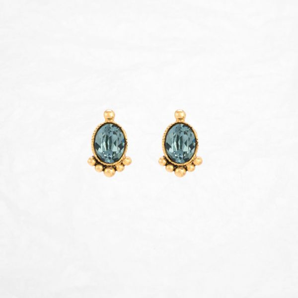 Une Ligne Ohrstecker oval vergoldet indian sapphire front