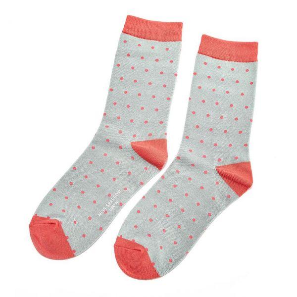 Miss Sparrow Socken Punkte blau