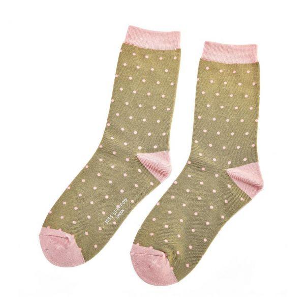 Miss Sparrow Socken Punkte oliv