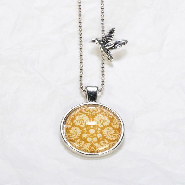 Medaillon-Halskette Ornament gelb
